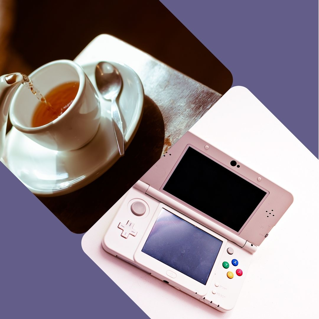 Top left corner is a teacup on a saucer, bottom left corner is a pink Nintendo DS